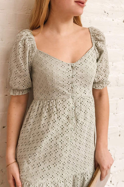 Gloria Mint Sage A-Line Openwork Midi Dress | Boutique 1861 model close up