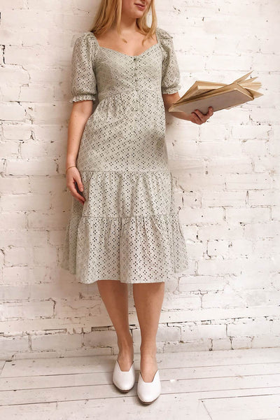 Gloria Mint Sage A-Line Openwork Midi Dress | Boutique 1861 model look