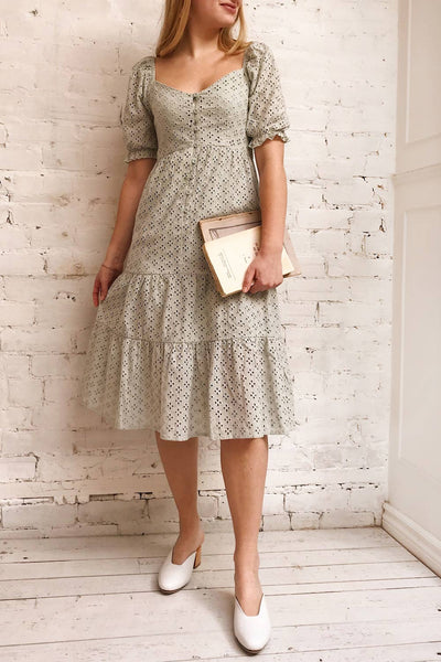 Gloria Mint Sage A-Line Openwork Midi Dress | Boutique 1861 on model