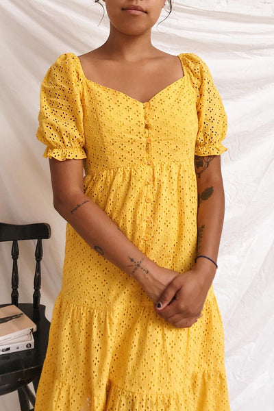 Gloria Yellow A-Line Openwork Midi Dress | Boutique 1861 model close up