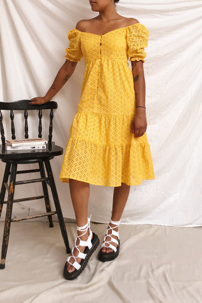 Gloria Yellow A-Line Openwork Midi Dress | Boutique 1861 model look 1