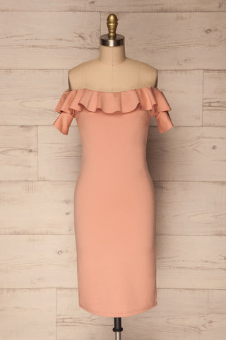 Glowno Quartz Pink Off-Shoulder Cocktail Dress | La Petite Garçonne