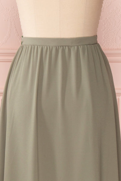 Glykeria Forest Sage Green Chiffon Maxi Skirt | Boutique 1861 7