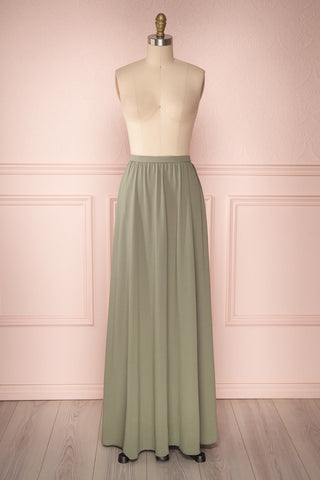 Glykeria Forest Sage Green Chiffon Maxi Skirt | Boutique 1861