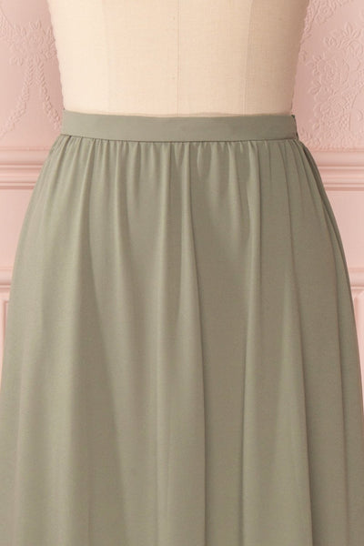 Glykeria Forest Sage Green Chiffon Maxi Skirt | Boutique 1861 3