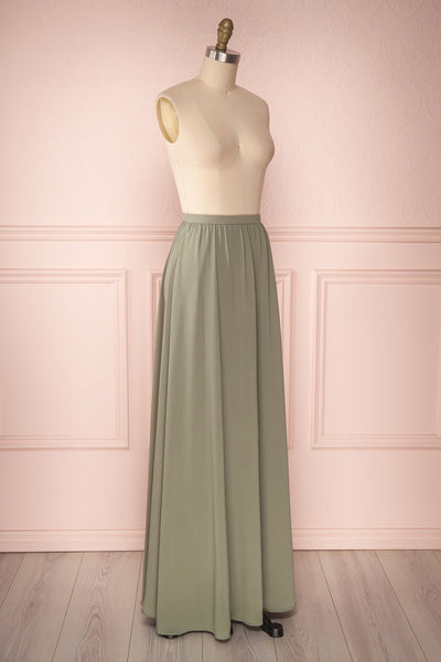 Glykeria Forest Sage Green Chiffon Maxi Skirt | Boutique 1861 4