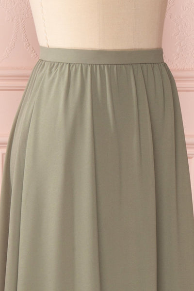 Glykeria Forest Sage Green Chiffon Maxi Skirt | Boutique 1861 5