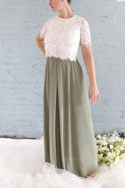 Glykeria Forest Sage Green Chiffon Maxi Skirt | Boutique 1861 2