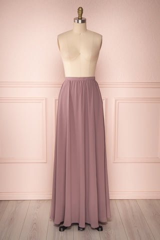 Glykeria Plum Lilac Purple Chiffon Maxi Skirt | Boutique 1861