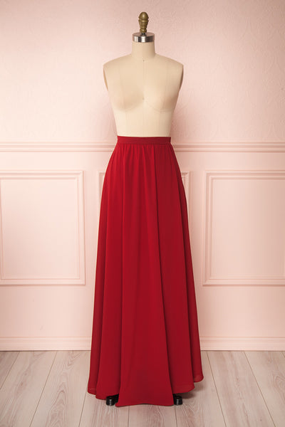 Glykeria Wine Burgundy Chiffon Maxi Skirt front view | Boutique 1861
