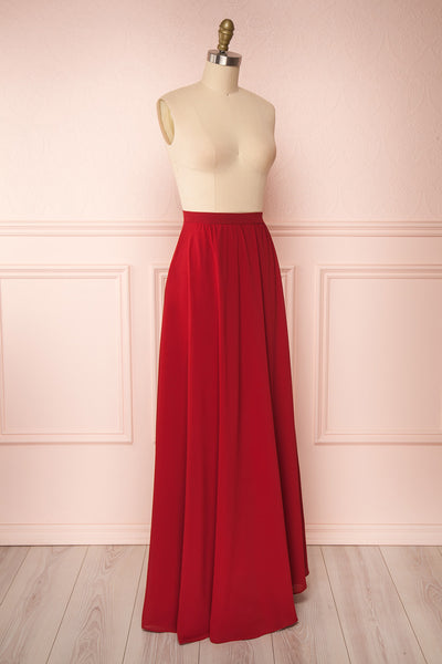 Glykeria Wine Burgundy Chiffon Maxi Skirt side close up | Boutique 1861