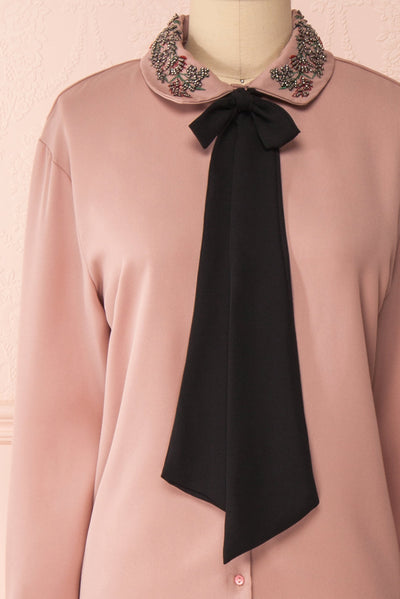 Godiva Nude Beige Tie Bow Neckline Blouse | Boutique 1861 front close-up