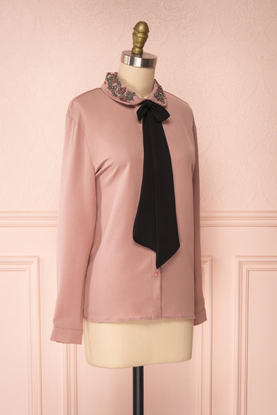 Godiva Nude Beige Tie Bow Neckline Blouse | Boutique 1861 side view