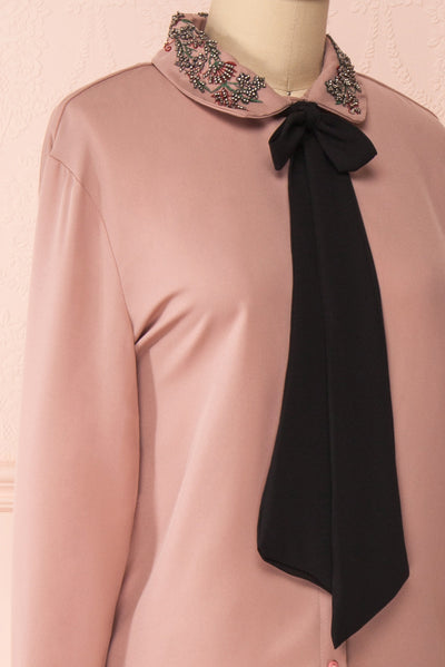 Godiva Nude Beige Tie Bow Neckline Blouse | Boutique 1861 side close-up