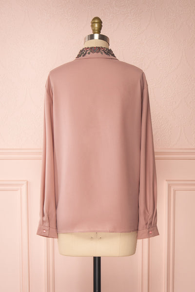 Godiva Nude Beige Tie Bow Neckline Blouse | Boutique 1861 back view