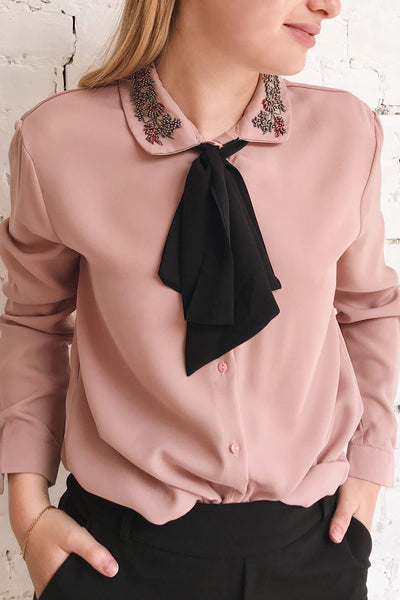 Godiva Nude Beige Tie Bow Neckline Blouse | Boutique 1861 on model