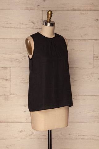 Godoy Silky Black Loose Top with Back Cut-Out | La Petite Garçonne 3