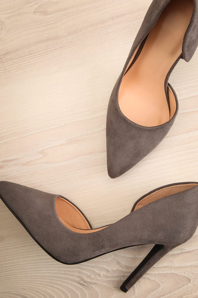 Goff Grey Faux-Suede Stilettos | Boutique 1861