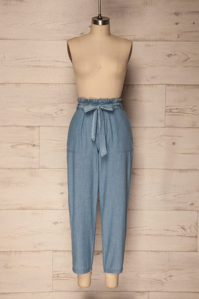 Gogolin Light Blue Straight Leg Pants with Belt | La Petite Garçonne