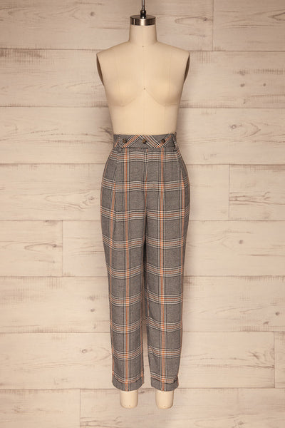 Golancz Black, White & Orange Plaid Pants | La Petite Garçonne front view