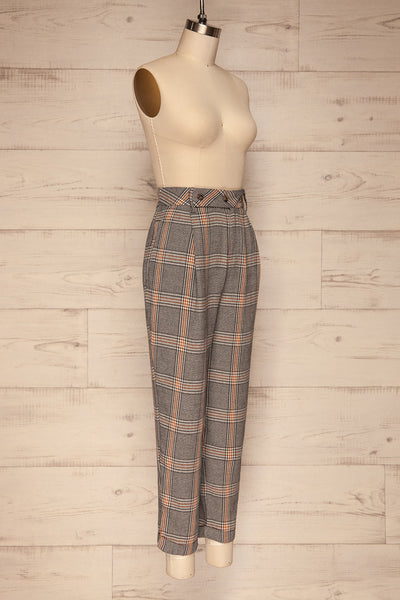 Golancz Black, White & Orange Plaid Pants | La Petite Garçonne side view