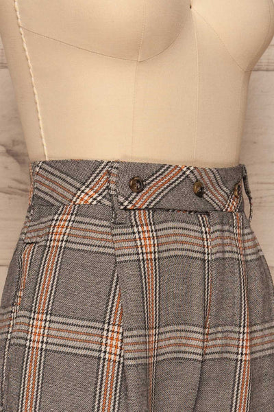 Golancz Black, White & Orange Plaid Pants | La Petite Garçonne side close-up