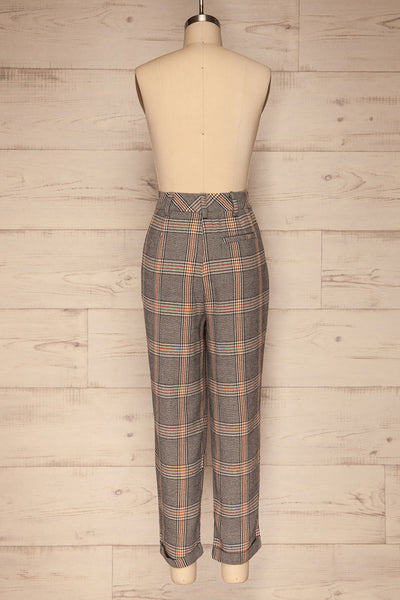 Golancz Black, White & Orange Plaid Pants | La Petite Garçonne back view