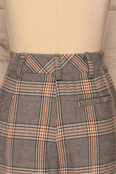 Golancz Black, White & Orange Plaid Pants | La Petite Garçonne back close-up