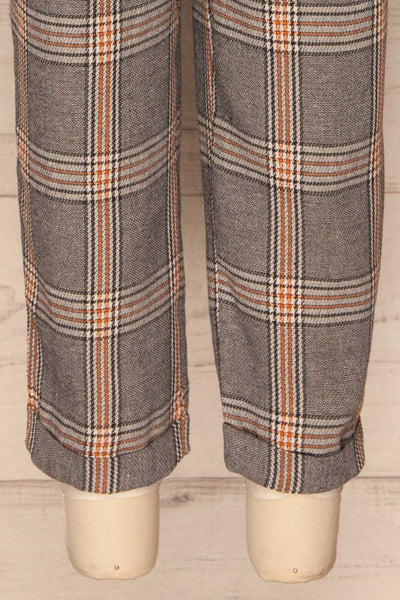 Golancz Black, White & Orange Plaid Pants | La Petite Garçonne bottom close-up