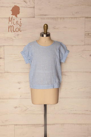 Golcuv Kids Light Blue & White Striped T-Shirt | La Petite Garçonne