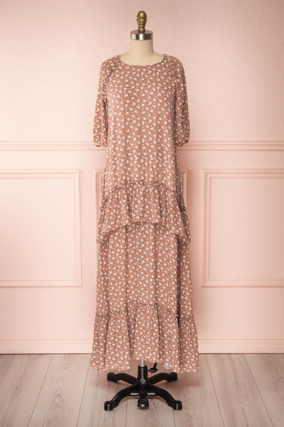 Goldyna Taupe Pink Printed Maxi Dress | Boutique 1861 fabri