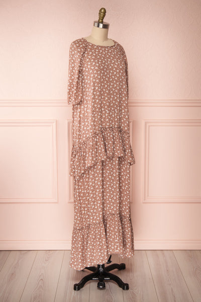 Goldyna Taupe Pink Printed Maxi Dress | Boutique 1861 side view