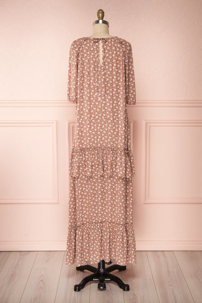 Goldyna Taupe Pink Printed Maxi Dress | Boutique 1861 back view