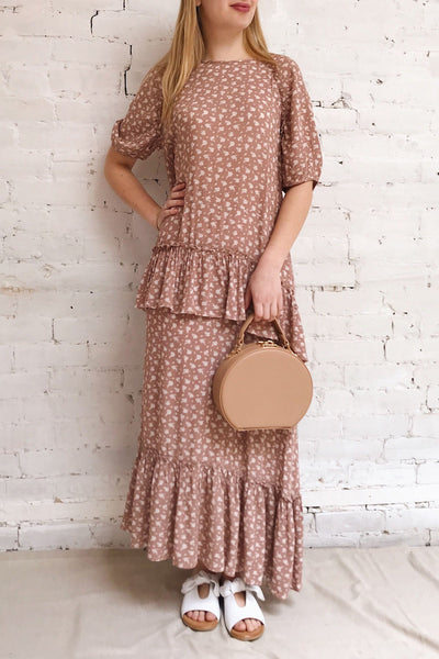 Goldyna Pink Patterned Maxi Dress | Boutique 1861 on model