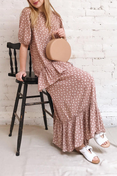 Goldyna Pink Patterned Maxi Dress | Boutique 1861 model look