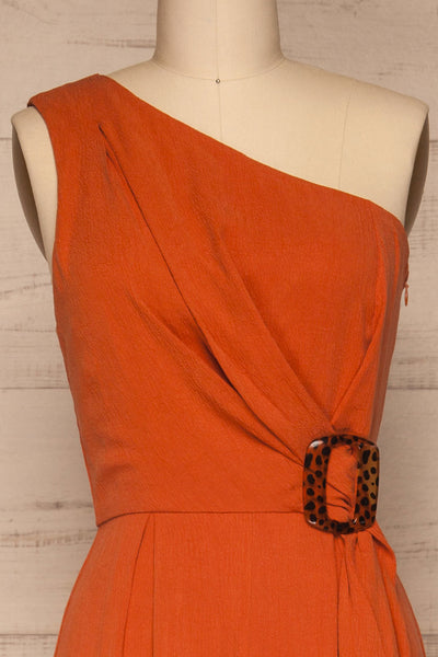 Golenlow Orange Wide Leg Jumpsuit | La petite garçonne front close-up