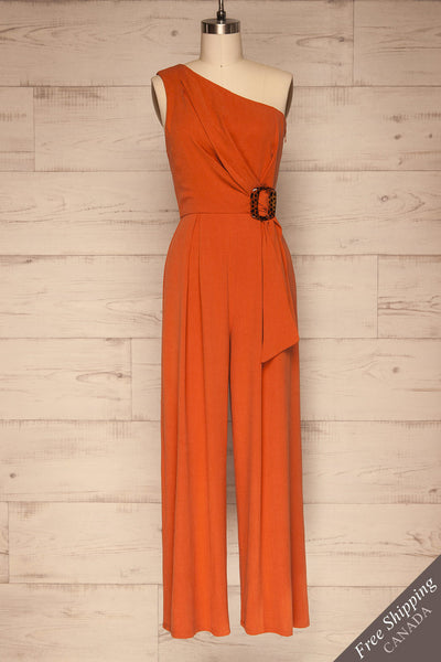 Golenlow Orange Wide Leg Jumpsuit | La petite garçonne front view