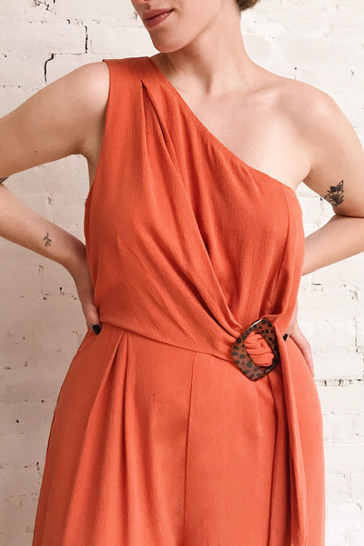 Golenlow Orange Wide Leg Jumpsuit | La petite garçonne on model