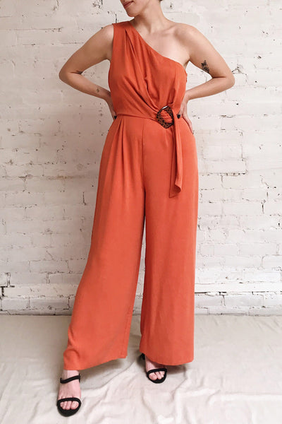 Golenlow Orange Wide Leg Jumpsuit | La petite garçonne model look
