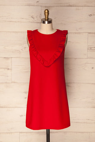 Gortynia Red Ruffled Babydoll Summer Dress | La Petite Garçonne