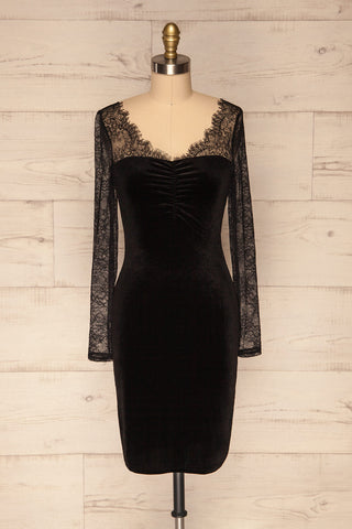 Gostynin Black Velvet Dress with Lace Sleeves front view | La Petite Garçonne