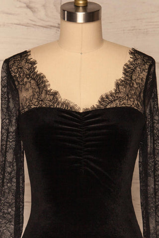 Gostynin Black Velvet Dress with Lace Sleeves front close up | La Petite Garçonne