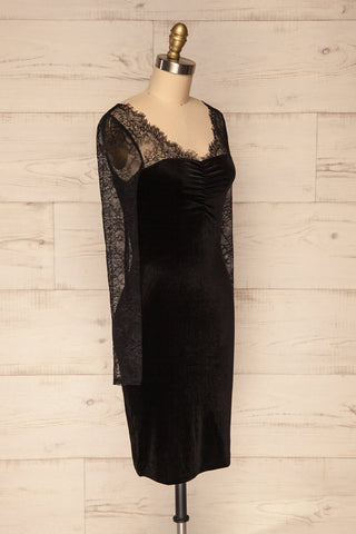 Gostynin Black Velvet Dress with Lace Sleeves side view | La Petite Garçonne
