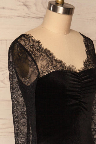 Gostynin Black Velvet Dress with Lace Sleeves side close up | La Petite Garçonne