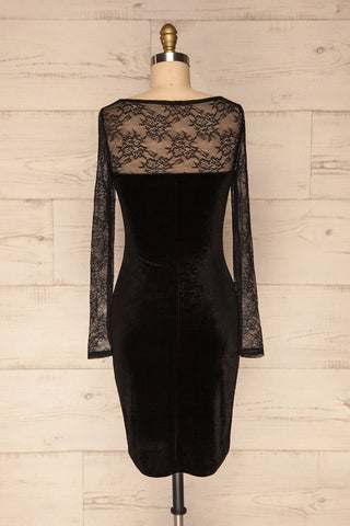 Gostynin Black Velvet Dress with Lace Sleeves back view | La Petite Garçonne