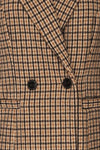 Gothenburg Beige Plaid Double Breasted Coat | La Petite Garçonne buttons close-up