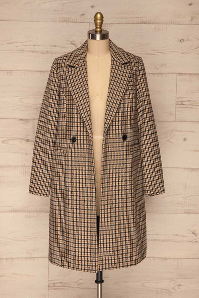 Gothenburg Beige Plaid Double Breasted Coat | La Petite Garçonne open view