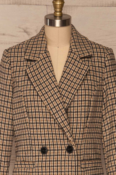 Gothenburg Beige Plaid Double Breasted Coat | La Petite Garçonne front close-up
