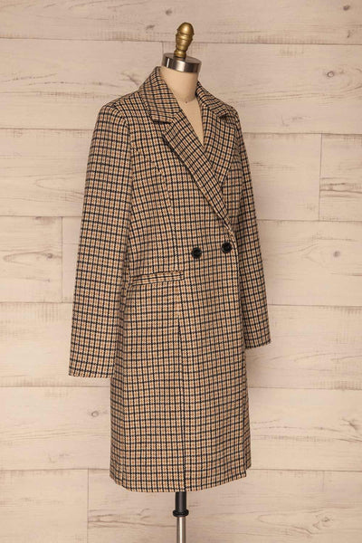 Gothenburg Beige Plaid Double Breasted Coat | La Petite Garçonne side view