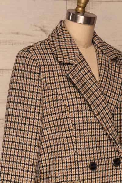 Gothenburg Beige Plaid Double Breasted Coat | La Petite Garçonne side close-up
